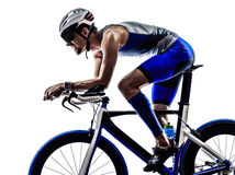 Triathlon iron man athlete cyclist bicycling Royalty Free Stock Photos