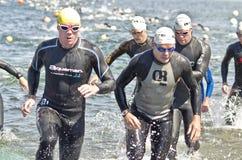 Triathlon levantado Fotografía de archivo libre de regalías