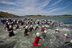 Triathlon levantado Imagen de archivo libre de regalías
