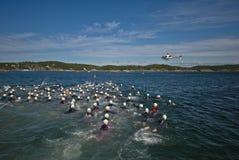 Triathlon levantado Imagens de Stock
