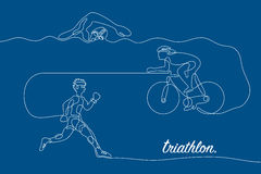 Triathlon. Linear line graphic. Royalty Free Stock Images