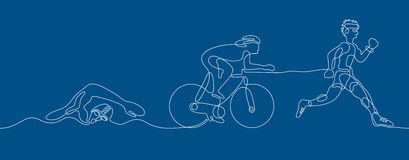 Triathlon. Linear line graphic. Stock Photography