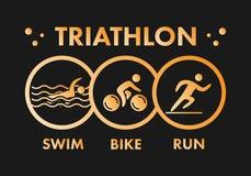 Triathlon logo and icon. Gold figures triathlete. Triathlon logo and icon. Swimming, cycling and running symbols. Gold figures triathlete Royalty Free Stock Photo