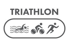 Triathlon logo and icon. Swimming, cycling, running symbols. Silhouettes of figures triathlete. Vector sport label and badge Royalty Free Stock Photos