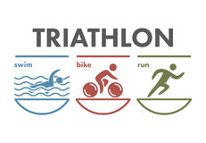 Triathlon logo and icon. Swimming, cycling, running symbols Royalty Free Stock Photo