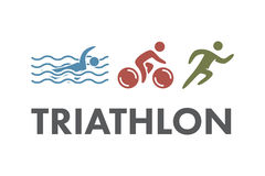 Triathlon logo and icon. Swimming, cycling, running symbols Stock Image