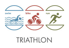 Triathlon logo and icon. Swimming, cycling, running symbols Stock Photography