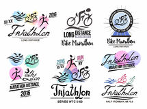 Triathlon logo. Sports logo with elements of calligraphy. Bike marathon logo. Bicycle badge. Runner icon. Sport poster triathlon. Emblem and sign of the Stock Photo