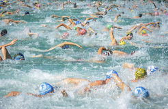 Triathlon mallorca start. A crowded start of the swimming leg during a triathlon athletic event in the Spanish island of Mallorca Stock Photo