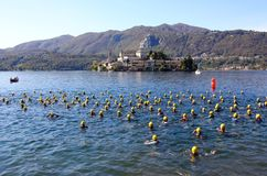triathlon olympique de cusio de cuvette Photo stock