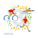 Triathlon for physically disabled people. Athletes with disabilities vector clip art. Royalty Free Stock Image