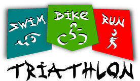 Triathlon pictogram. Icon of swimming, cycling and running triathlon race vector illustration