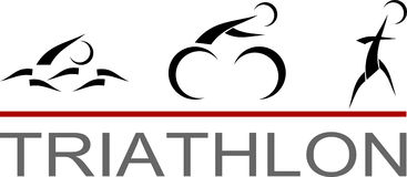 Triathlon pictogram. Icon of swimming, cycling and running triathlon race stock illustration