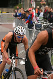 Triathlon race. DUSSELDORF, GERMANY - July 03: unknown athletes fighting for a good position in the second discipline, cycle race, in this years triathlon. The stock images