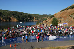 Triathlon race area Stock Photo