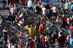 Triathlon race area. The transition area of a triathlon race royalty free stock image