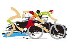 Triathlon race expresiv stylized. royalty free illustration