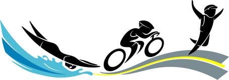 Triathlon Race Figure Symbol Royalty Free Stock Photos