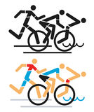 Triathlon race icons. Stock Images