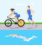 Triathlon race illustration. Man swims and rides and runs Stock Photography