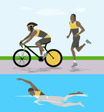 Triathlon race illustration. Man swims and rides and runs Royalty Free Stock Photo