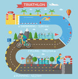 Triathlon race infographic vector. Royalty Free Stock Photo