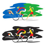 Triathlon race swimmer runner cyclist. Stylized Illustration of Three triathlon athletes on the clorful and black background. Vector available Royalty Free Stock Photo