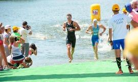 Triathlon-Schale von Ukraine und Schale von Bila Tserkva 24. Juli 2016 lizenzfreies stockfoto
