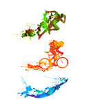 Triathlon set. Splash paint silhouettes. Triathlon vector watercolor set. Splash paint silhouettes Stock Image