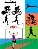 Triathlon Silhouettes. A silhouette set of triathletes in action Royalty Free Stock Images