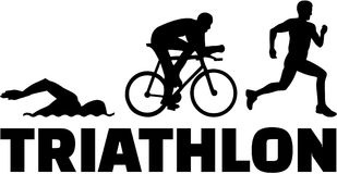 Triathlon silhouettes with word. Vector Stock Photo