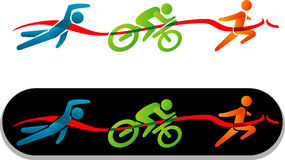 Triathlon Simple Stick Figure Icon Royalty Free Stock Images