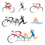 Triathlon som cyklar konditionsymboler royaltyfri illustrationer