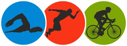 Triathlon Sport. Conceptual image including swimming, running, and cycling Stock Photography
