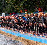 Triathlon Start. Competitors at International Triathlon Edmonton Alberta, August 29, 2014 Stock Images