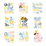 Triathlon Supporters And Fans Club For People That Love Sport Set Of Colorful Promo Sign Design Templates Stock Images