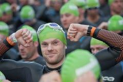 Triathlon swimmers Stock Images