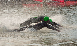 Triathlon swimmers diving into open water swim stage. Stock Photo