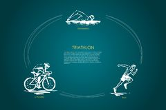 Triathlon - swimming, cycling, run vector concept set stock illustration