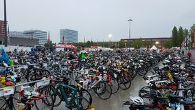 Triathlon transition zone Royalty Free Stock Photo