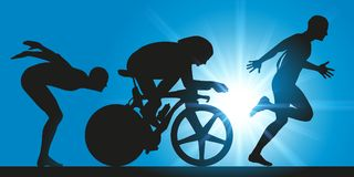 Triathlon tre extrema sportdiscipliner stock illustrationer