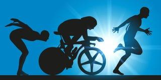 Triathlon, tres disciplinas extremas de los deportes stock de ilustración