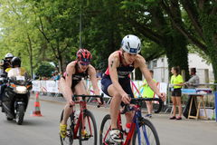 Triathlon triathlete sport healthy exercise cycling. Team GB triathletes Jess Learmonth and Lucy Hall cycling in the European Triathlon Sprint Championships Royalty Free Stock Image