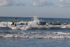 Triathlon triathlete sport healthy exercise swimming. Triathletes battle against waves as they enter the sea for the swimming leg of Challenge Peguera, a half Royalty Free Stock Photos