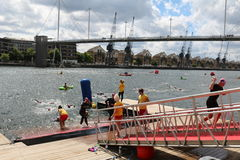 Triathlon triathletes sport healthy exercise swimming. Triathletes leave the water after a swimming leg at the 2016 London Triathlon in Docklands Royalty Free Stock Photo