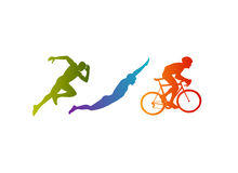 Triathlon vector silhouettes set. Stock Photography