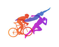 Triathlon vector silhouettes set Royalty Free Stock Image