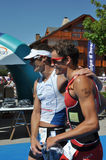 Triathlon, vencedores Fotos de Stock Royalty Free