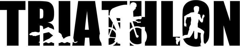 Triathlon word with cutouts stock photo
