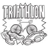 Triathlonen skissar vektor illustrationer